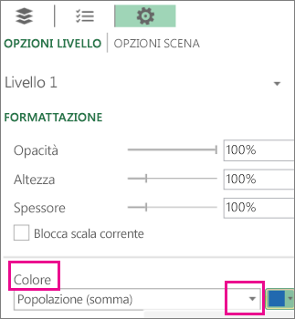 Casella di riepilogo Serie di dati per l'elenco a discesa Colori