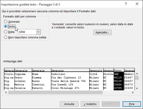 L'opzione Testo per Formato dati per colonna è evidenziata nell'Importazione guidata testo.