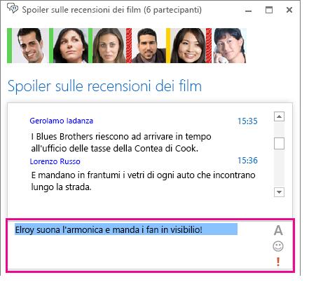 Immagine della finestra di una chat room con un messaggio al quale è stato cambiato il carattere e aggiunta una emoticon
