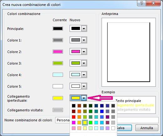 Creazione di una nuova combinazione di colori Publisher per modificare i colori dei collegamenti ipertestuali