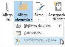 Comando Allega elemento di Outlook nella barra multifunzione