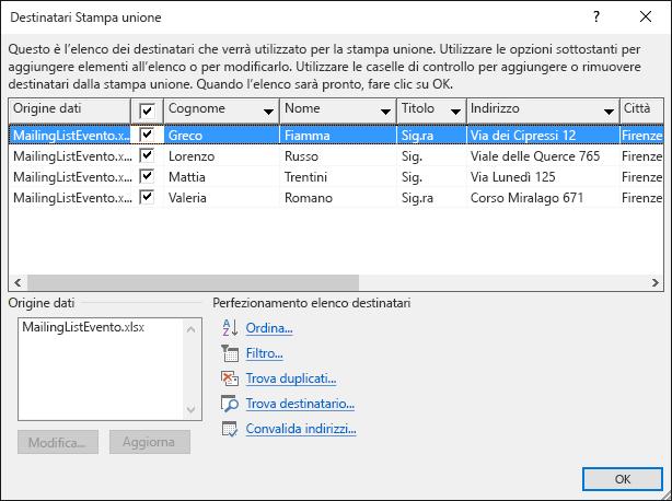 Finestra di dialogo Stampa unione - Destinatari che mostra il contenuto di un foglio di calcolo di Excel usato come origine dati per una lista di distribuzione