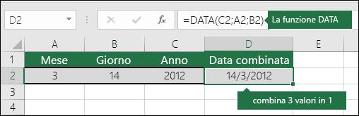 Esempio 2 di funzione DATA