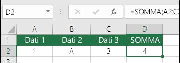 Costruzione corretta della formula.  Invece di =A2+B2+C2, la formula della cella D2 è =SOMMA(A2:C2)
