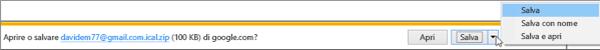 Scegliere un percorso in cui salvare il calendario di Google esportato.