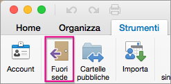 Nella scheda Strumenti fare clic su Fuori sede.