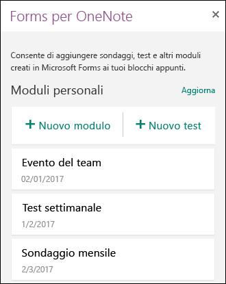 Mostra un elenco di moduli e test nel riquadro Forms per OneNote.