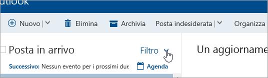Screenshot del pulsante Filtra