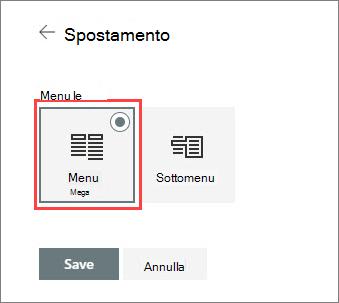 Immagine dell'opzione di menu Mega