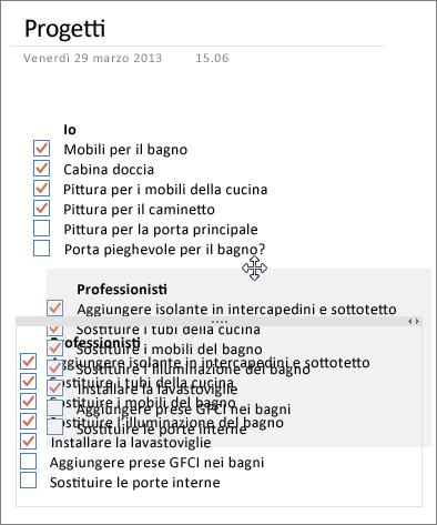 È possibile spostare i contenitori di note in una pagina di OneNote