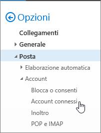 Screenshot del menu Opzioni posta con gli account connessi visualizzati in Account
