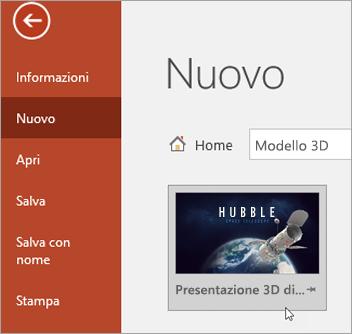 Modello 3D in File > Nuovo
