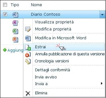 """Elenco a discesa per un file di Word selezionato in un elenco di SharePoint. È evidenziato il comando """"Estrai""""."""