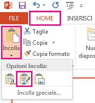 Nel menu Incolla, scegliere l'icona Mantieni formattazione originale.