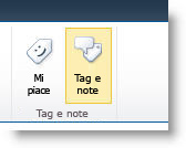 Comando per l'aggiunta di tag di social networking nella scheda Elenco o Raccolta della barra multifunzione