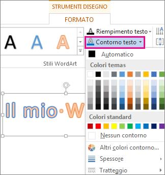 Raccolta Colori di contorno del testo nella scheda Strumenti di disegno - Formato