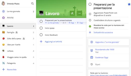 Schermata dell'elenco di lavoro con una preparazione per la presentazione aperta in visualizzazione dettagli