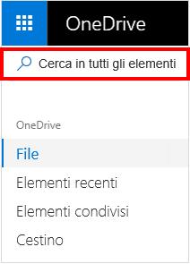 Cerca selezione di tutti gli elementi in OneDrive