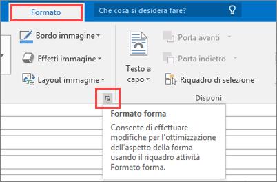 Ritaglio di schermata dell'interfaccia utente di Outlook che mostra la scheda Formato con l'opzione Formato forma selezionata.