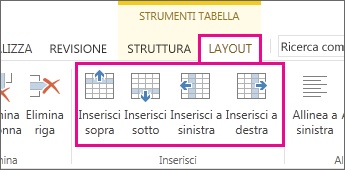 Immagine delle opzioni di layout per l'aggiunta di righe e colonne nelle tabelle