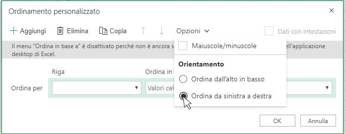 Selezione dell'opzione Ordina da sinistra a destra nella finestra di dialogo Ordinamento personalizzato