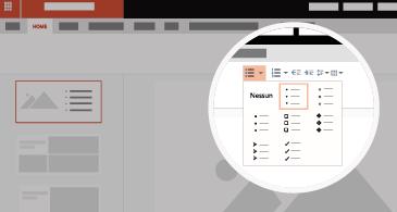 Diapositiva con area ingrandita che mostra le opzioni disponibili per elenchi e punti elenco