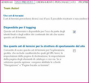 Le proprietà dell'archivio termini consentono di configurare impostazioni come il tagging