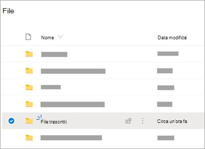 OneDrive cartelle con la cartella File trascritti visibile