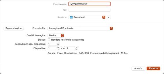Finestra di dialogo Esporta come GIF animata in PowerPoint 2021 per Mac