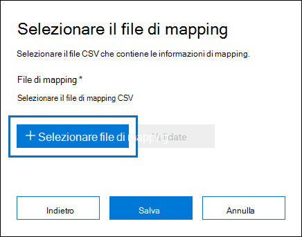 Fare clic su mapping selezionare file per inviare il file CSV creato per il processo di importazione
