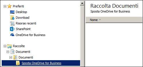 Cartella per i file di gestione temporanea da spostare in Office 365