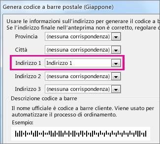 Campi nella casella Genera codice a barre postale