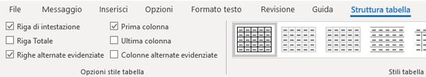 Gruppo stili tabella progettazione tabella di Outlook per Windows