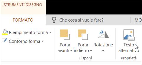 Screenshot che mostra la scheda Formato di Strumenti disegno con il cursore posizionato sull'opzione Testo alternativo.