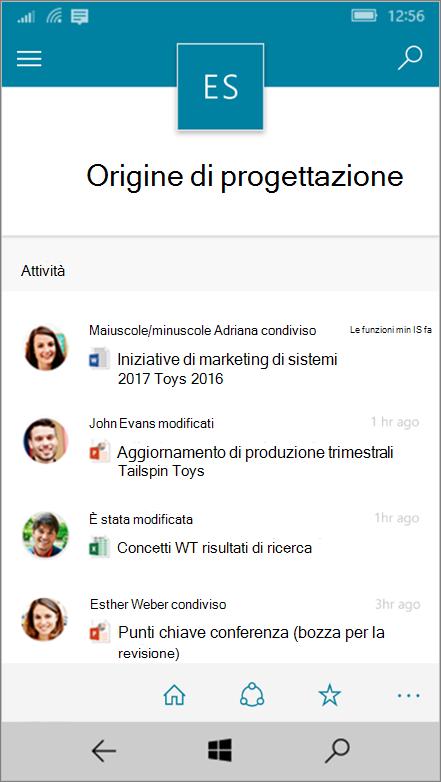 Windows 10 Mobile con attività, file, elenchi e spostamento