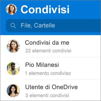 Visualizzazione file condivisi nell'app OneDrive per Android