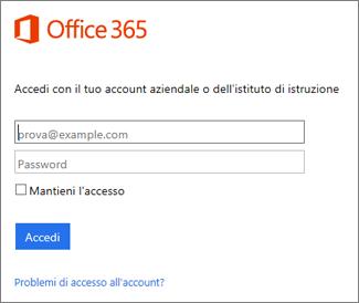 Pagina di accesso a portal.office.com
