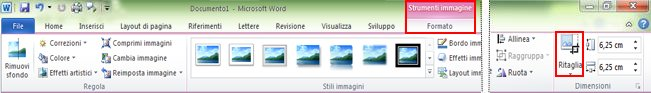 Comando Ritaglia nella scheda Formato di Strumenti immagine sulla barra multifunzione