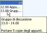 Finestra popup con informazioni sull'appuntamento