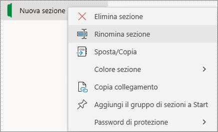 Screenshot del menu di scelta rapida per la ridenominazione di una linguetta di sezione in OneNote per Windows 10.