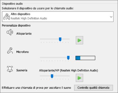 Impostazioni personalizzate (altoparlante, microfono, suoneria) per il dispositivo audio