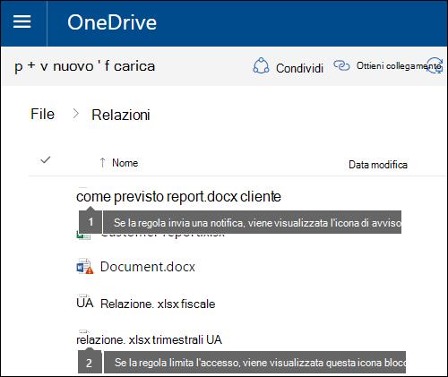 Icone di suggerimento criteri ai documenti in un account di OneDrive