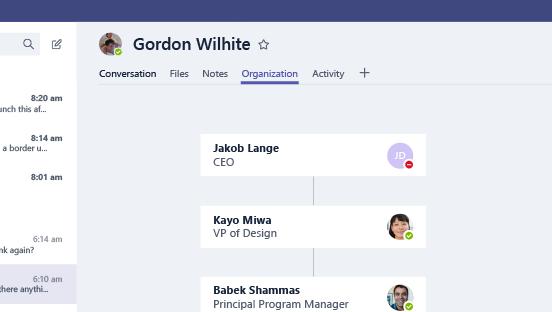 Questa schermata mostra la scheda Organizzazione.