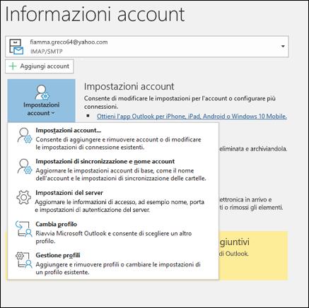 Si hanno più tipi di impostazioni dell'account che è possibile modificare in Outlook.