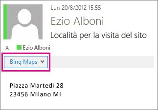 Messaggio di Outlook che mostra l'app Bing Maps