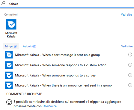 Screenshot: Digitare Kaizala e quindi selezionare Microsoft Kaizala - When someone responds to a survey