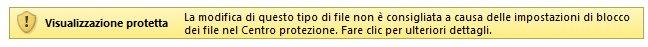 Visualizzazione protetta per file bloccati da Blocco file (l'utente può modificare il file)
