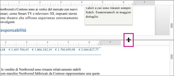 È possibile dividere la finestra per visualizzare parti diverse dello stesso documento, nonché visualizzazioni diverse.
