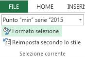 L'opzione  Formato selezione è nella scheda Formato.