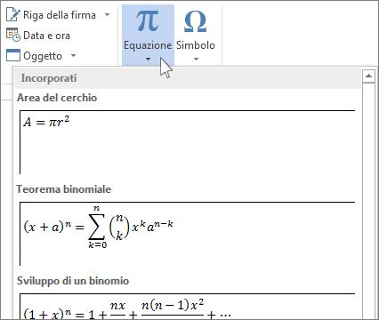 Inserisci equazione